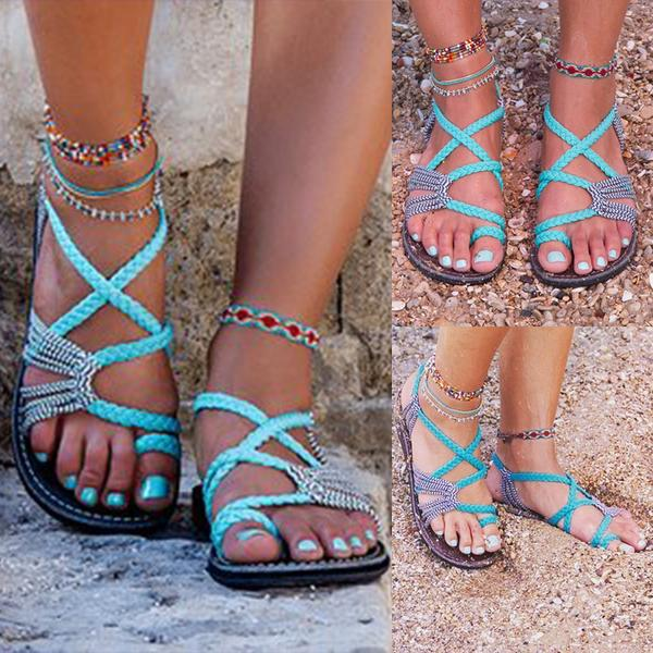 Bohemian Weave Strings Thong Pure Color Ankle Strap Women Beach Flat Sandals