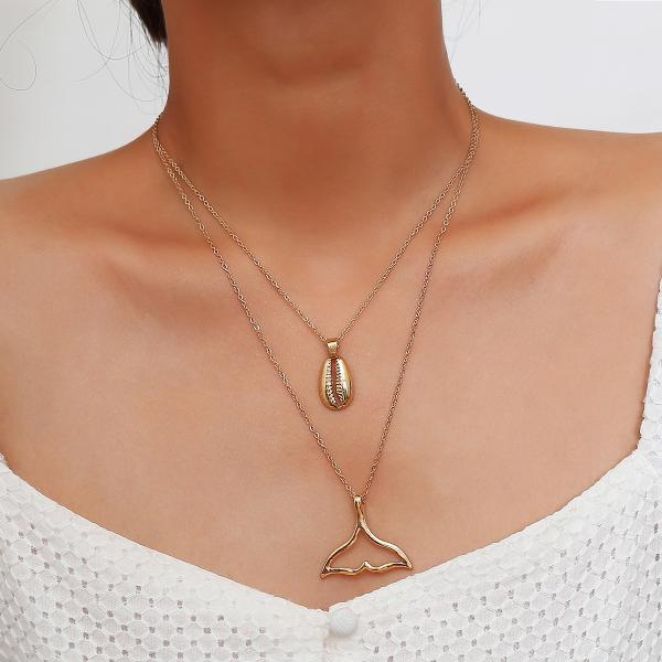 Alloy Shell Fishtail Collarbone Necklace