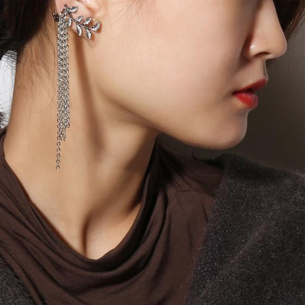 Fashion Alloy Leaf Fringe Earrings