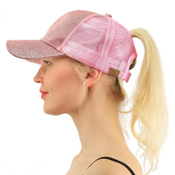 2019 Glitter Ponytail Baseball Cap Women Snapback Hat Summer Messy Bun Mesh Hats Casual Adjustable Sport Caps