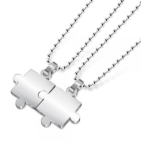 Stainless Steel Finish Puzzle Pendant Necklace