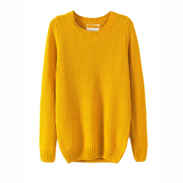 Loose Knit Crew Neck Pullover Sweaters