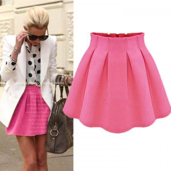 Flared Pleated High Waist Short Skirt