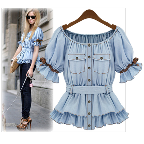 Faux Denim Shirt Butterfly Blouse
