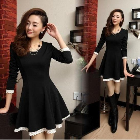 New Sexy Women Casual Lace Long Sleeve Party Evening Cocktail Short Mini Dress