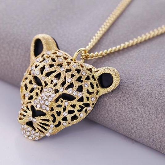 Rhinestone Leopard Tiger Head Chain Necklace Sweater Golden
