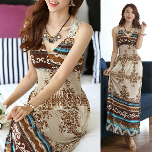 Women Lace Summer Bohemia V Neck Long Dress