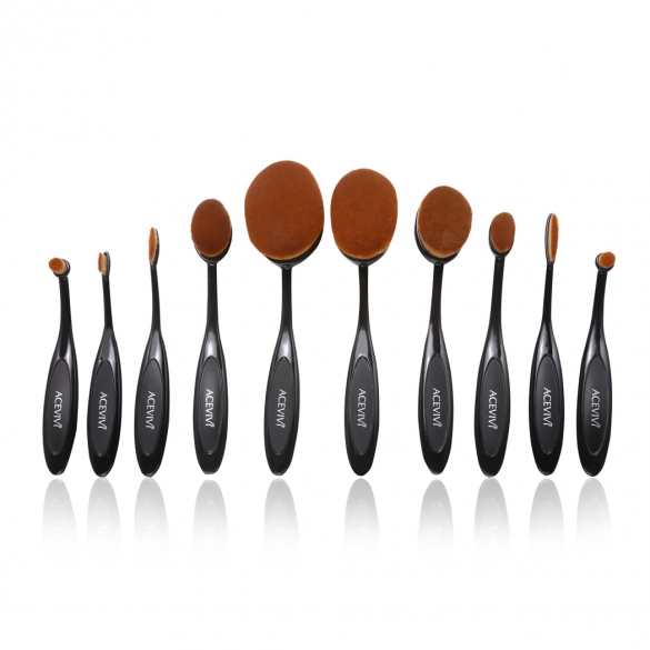 ACEVIVI Pack Of 10 Professional Foundation Makeup Brush Toothbrush Powder Cream Blusher Multifunction Cosmetic Brush Sets