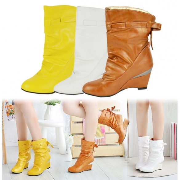Women's Girls Winter Boots Round Toe Shoes Wedge Boots 3 Colors