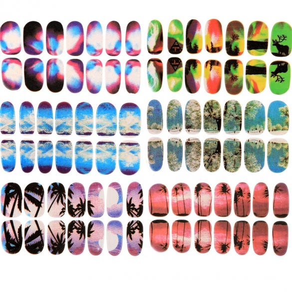 New 6 Sheets Nail Art Transfer Stickers 3D Design Manicure Tips Decal Decoration