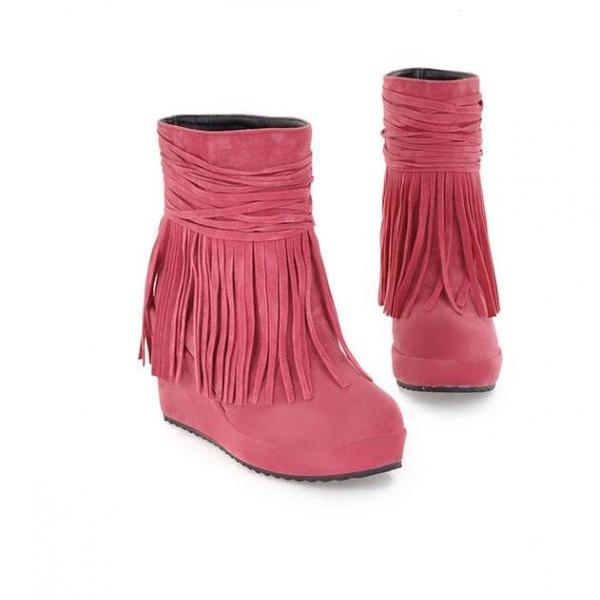 Tassel High-Heeled Women Ankle Boots Shoes