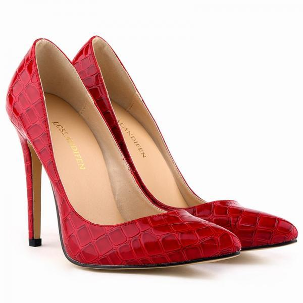 Crocodile Print Pointed-Toe High Heel Stilettos