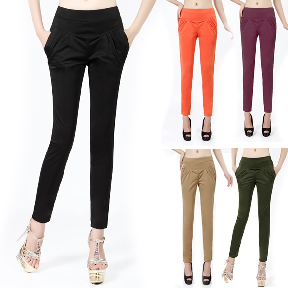 Women Harlen Colorful High-Waisted Pants Trousers Elastic Waist