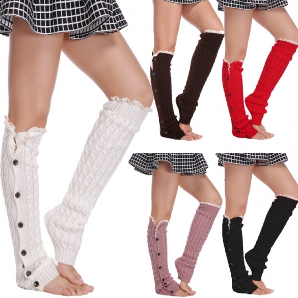 New Women's Fashion Button Knit Crochet Leg Lace Warmer Leggings Socks