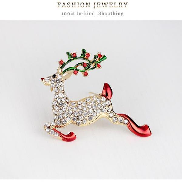 High-grade Christmas deer brooch brooch