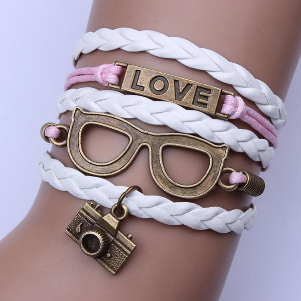 Cute Camera Glasses Leather Cord Woven Bracelet