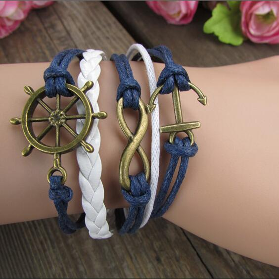 Retro Style Anchor Rudder Multilayer Woven Bracelet