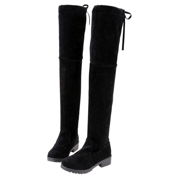 Women Fashion Autumn Winter Slip-On Faux Suede Over Knee High Flat Boots